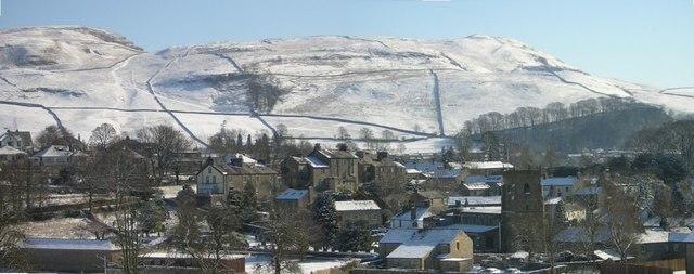 Giggleswick Village in snow