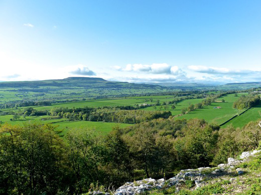 A panoramic view of Wensleydale from Copyright Paul Buckingham and licensed for reuse under this Creative Commons Licence