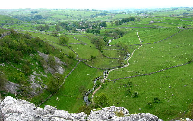 Looking out along Malham Beck towards Malham
